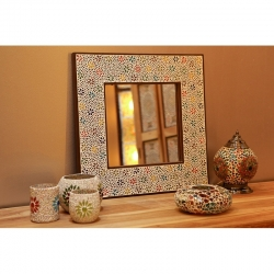 Spiegel multi colour flower design frame 80 x 65 cm