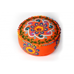 Poef Ari embroidery India Orange